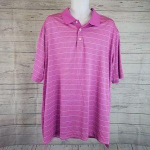 Adidas Climalite Polo Sz 2XL Pink White Stripes